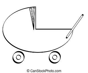 outline illustration of a baby pram or stroller