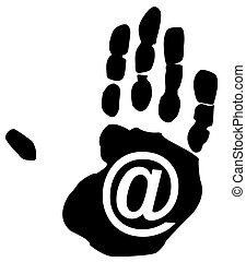 email symbol inside the print on a persons hand