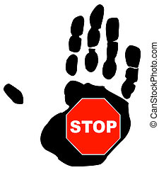 stop sign inside the palm print of a hand