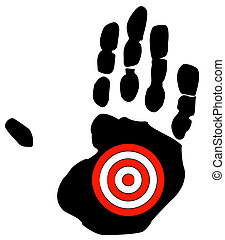 hand print with target symbol - getting bullied, specific...