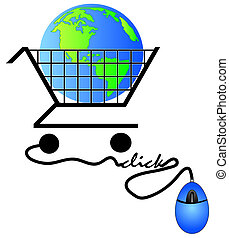 shopping cart connected to online shopping - global shopping concept