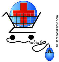shopping cart with first aid symbol in cart - shopping for health care