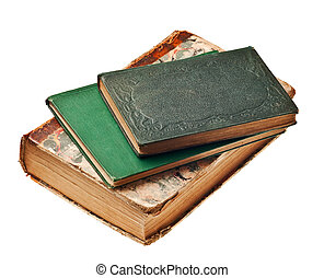 old books from the 1800\'s isolated on white background -...