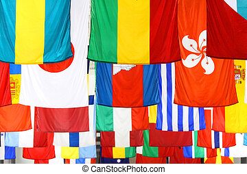 World Flags - Many country flags hanging from the roof