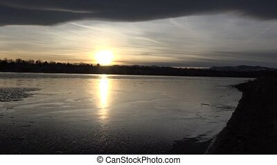 Perfect View of Icy Lake - Get a perfect view of sunset over...