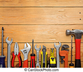 ensemble, de, Outils, sur, a, bois, panneau,