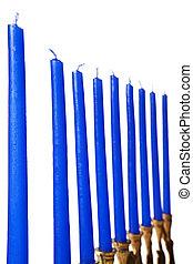 Hanukkah menorah candles isolated
