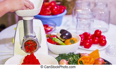 Red Paprika Mash Preparation With Help of Mincing Machine -...