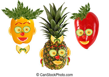 Creative set of food concepts. Three funny portraits from...