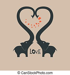 Heart - St Valentines day greeting card with elephants