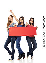 Three girl friends with red banner - Women billboard sign....