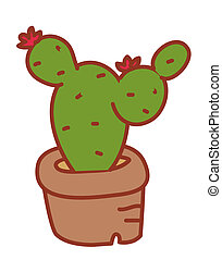 cactus - a green cactus with two flowers in a brown...