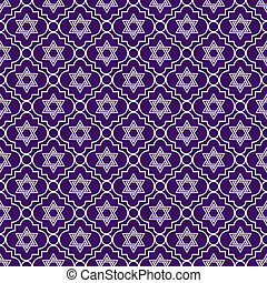 Purple and White Star of David Repeat Pattern Background...