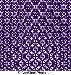púrpura, y, blanco, estrella, de, david,...