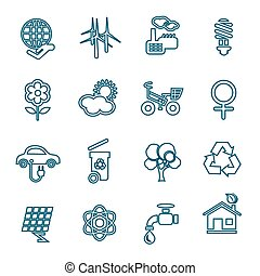Flat line ecology icons set. Modern design style, vector...