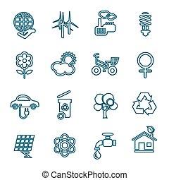 Flat line ecology icons set