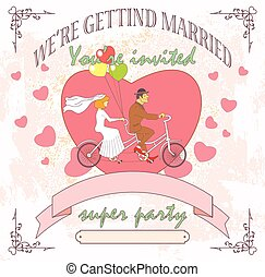 wedding tandem - The groom and the bride on a tandem,...