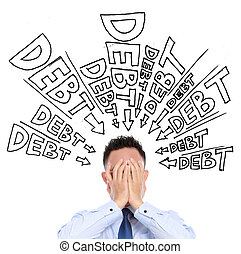 unpaid debt - concept of a businessman frustration of unpaid...