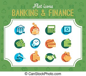 banking icons - banking vector set in a flat style, modern...