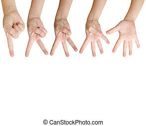 Isolated child hand shows the number one, two, three, four...