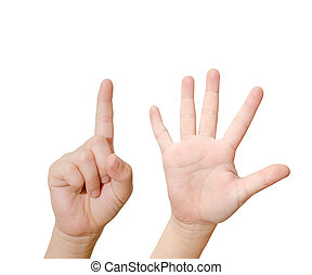 Child hand is showing six fingers isolated on white...