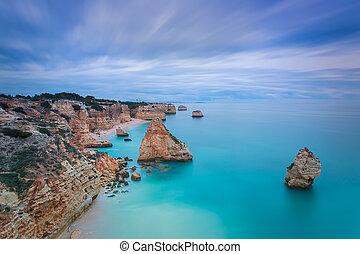 美麗, 藍色, 海景, 天空, 葡萄牙, 不真實, 顏色,  Algarve