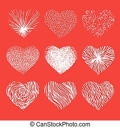 Vector set of scribbled hand drawn hearts for Valentines Day