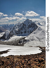 Mountain peaks in Pamir - Scenic mountain peaks in Pamir...