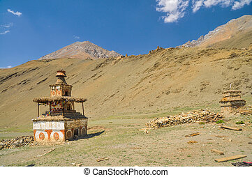Buddhist shrine - Picturesque old shrine in Dolpo region in...