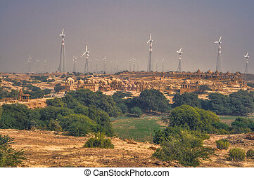 Thar Desert - Panoramic view of wind turbines standing among...