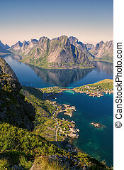 Reine - Amazing view of town Reine and surrounding fjords on...