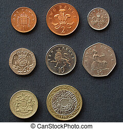 Pounds - Range of British Pound coins (UK currency)