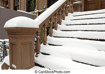 Brownstone stairs and entrance