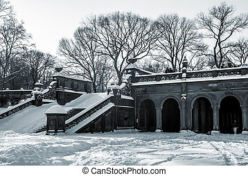 Snow on Bethesda Terrace - A black and white view of...