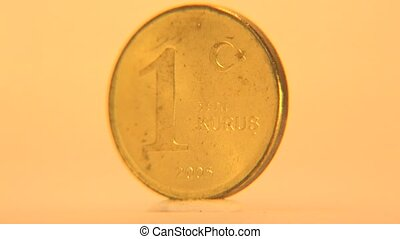 1 Turkish Lira Coin - Close-up view of one lira coin of...