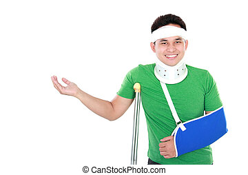 injured young man - portrait of injured young man present...