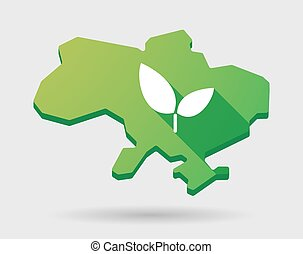 Ukraine green map icon with a plant - Illustration of a...
