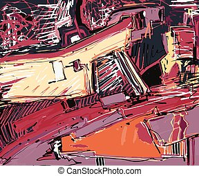arte, abstratos, Ilustração,  digital, quadro,  Original