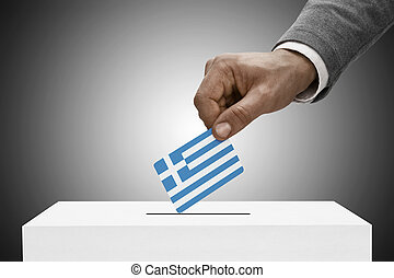 Black male holding flag. Voting concept - Greece