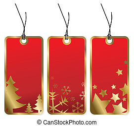 Red Christmas tags with golden borders and seasonal motives