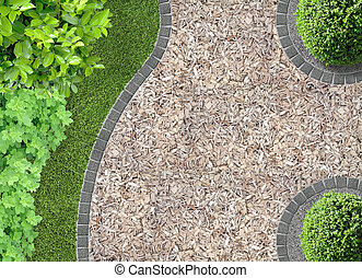 chaff path in the garden - garden detail in aerial view with...
