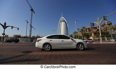 traffic with Burj Al Arab - city traffic with Burj Al Arab...
