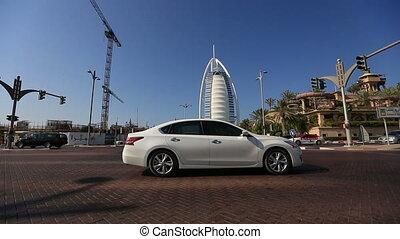 traffic with Burj Al Arab - city traffic with Burj Al Arab...