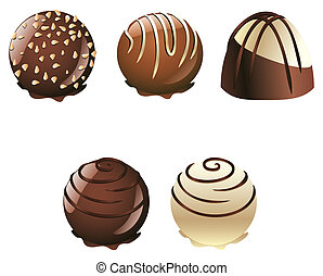 Chocolate Candies - Set of white and brown chocolate candies...