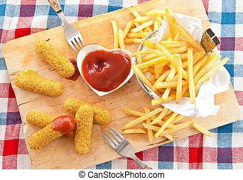 Fries and Mozzarella Sticks - Fresh french fries ,...