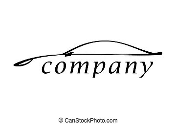 The car - Illustration of a logo of the new car on a white...