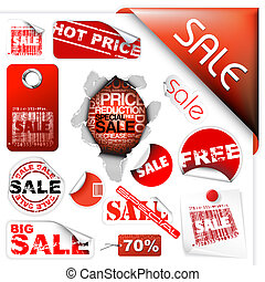 Set of sale tickets, labels, stamps, stickers