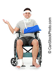 injured young man in wheelchair
