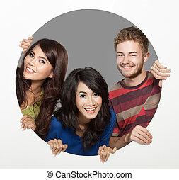 three friend happy face - portrait of three happy bestfriend...