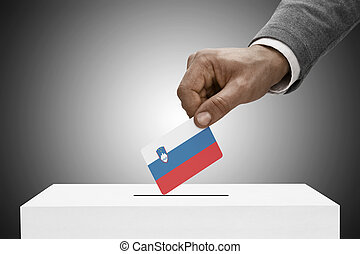 Black male holding flag Voting concept - Slovenia